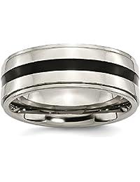 ICE CARATS Titanium Enameled Ridged Edge 8mm Wedding Ring Band Fancy Fashion Jewelry Gift Set For Women Heart