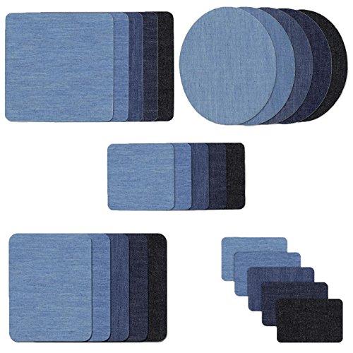 Tesan Patches zum aufbügeln, 25Stück Denim Baumwolle Patches Bügeleisen Reparatursatz Aufbügelflicken Bügelflicken jeans flicken aufbügeln,5 Farben 5 Größen