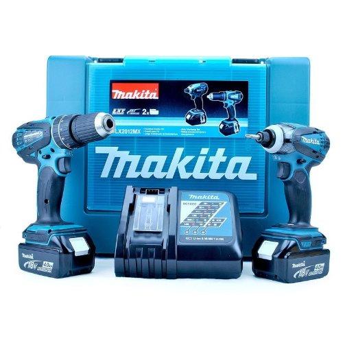 Makita DLX201218V li-ione 2Stück Combi Drill + Impact Driver Kit Cordless (2x 3Ah Batterie) (Driver Drill Kit)