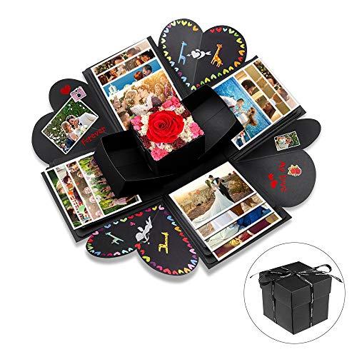 opamoo Kreative Überraschung Box Explosions-Box DIY Faltendes Fotoalbum,Geburtstag Jahrestag Valentine Hochzeit Geschenk, DIY Geschenk (Schwarz)