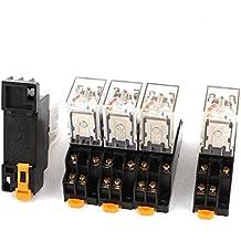 5 Piezas AC 220 V - 240 V DPTD LED rojo relé electromagnético con toma Base