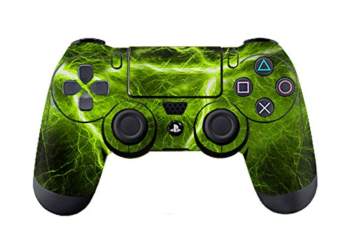 PlayStation 4 Sticker Skin Set für Konsole + 2 Controller (Green Electric) (Monster Playstation Controller)