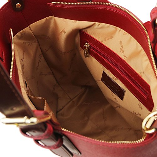 Tuscany Leather TL Bag Borsa a mano in pelle Saffiano Giallo Rosso