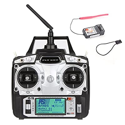 Flysky FS-T6 2.4GHz 6CH Transmitter With Receiver R6-B for RC Quadcopter Helicopter Airplane Car