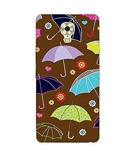 FUSON brown umberella floral design Designer Back Case Cover for Gionee M6 Plus