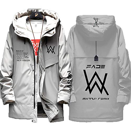 73HA73 Herren Warme Winterjacke Alan Olav Walker Faded Uniform Jacke Kapuzen Full Zip Coat Hoodie Komfortable Übergangsjacke Sweatshirt Jacken (No Shirt),gray2,3XL(185-190cm)