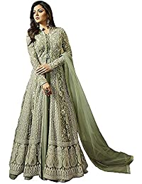 Monika Silk Mill Womne's Latest Gown Style Light Green Net Embroidered Party Wear Traditional Wear Wedding Wear...
