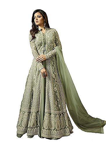 Monika Silk Mill Womne\'s Latest Gown Style Light Green Net Embroidered Party wear Traditional wear Wedding wear Anarkali Salwar Suits