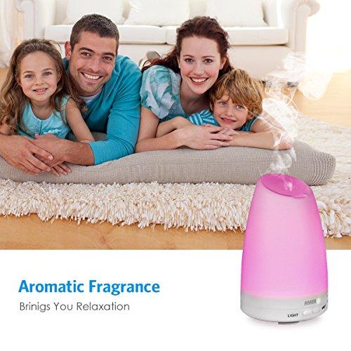 AMIR Aroma Diffuser, 150ml Diffusor Ultraschall Luftbefeuchter Tragbarer Aromatherapie Ätherischesöl Oil Diffusor mit 7 LED Farbwechsel Einstellbarer Nebel-Modus für Babies Yoga