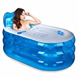 Aufblasbare Badewannen-Falt-Badewanne Tragbare Badewanne Kunststoff-Badewanne Whirlpool Badewanne Whirlpool (Color : 145*80*70cm, Size : Blue hand pump)