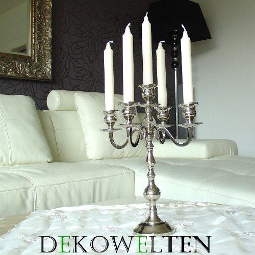 Dekowelten Kerzenständer/Kerzenhalter 5-armig in Silber für Stab oder Stumpenkerzen in verschiedenen Größen 30-180cm (35cm Big)