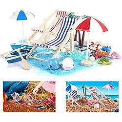 Ulikey 40 Pièces Miniature de Plage, DIY Micro Paysage de Plage, Décoration de Plage d'océan, Chaise de Plage, Parasol, Cocotier
