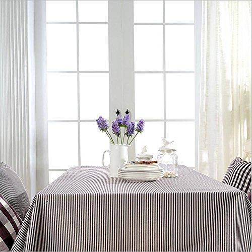JulySeven Tischtuch Tischwäsche Abwaschbar Polyester Rotwein Streifen und weiß Spitze, 180 * 180