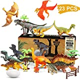 WOSTOO Juego de Dinosaurios, Figura de Dinosaurio 17 Piezas Juguete Dinosaurio & 6 Piezas Huevos