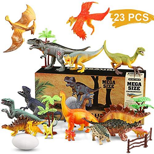 WOSTOO Dinosaurier Spielzeug Set, 23pcs Figur Dinosaurier mit 6pcs Simulierte Pflanze Dinosaurier Spielzeug Dinosaurier Blöcke Set Kunststoff Dinosaurier Figuren Party für Kinder 3-8 Jahre Alte -