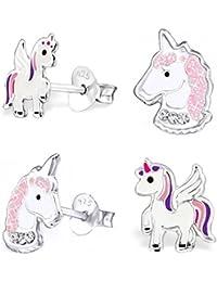 GH * Kids 2Paire de petites pigasus + Cristal Licorne Boucles d'oreilles en argent véritable 925Fille Enfant Cheval Boucles d'oreilles Idée cadeau