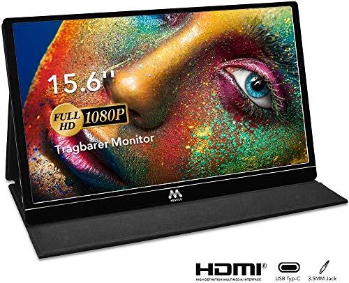 Portable Monitor - 15,6 Zoll Tragbarer Monitor IPS Bildschirm 1920×1080 Full HD, USB Monitor mit USB-C/Typ-C Mini-HDMI für PC, Handy, Xbox, PS4 usw, mit Schutzhülle, Displayschutz