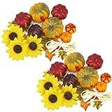 com-four® 2X Decoración de otoño Artificial para artesanías, Mini Decoraciones de Calabazas y Girasoles con Rafia para su hogar, Aproximadamente 38 g (02 Piezas - Decorado Calabaza + Girasol)