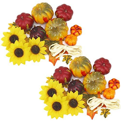 (com-four® 2X Künstliche Herbst-Dekoration zum Basteln, Mini Deko Kürbisse und Sonnenblumen mit Bast für Ihr Zuhause, ca. 38 g (02 Stück - Streudeko Kürbis + Sonnenblume))