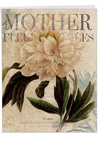 Jumbo Mutter 's Day Mitteilungskarten: Peonies lackiert-Mother 's Day: Florals ER Collage mit mit Vintage Hintergrund, mit Umschlag (GIANT Größe: 21,6x 27,9cm) j4605bmdg
