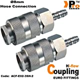 Twin Pack - Euro Coupling ( Hi-Flow) with ø8mm Hose Connection