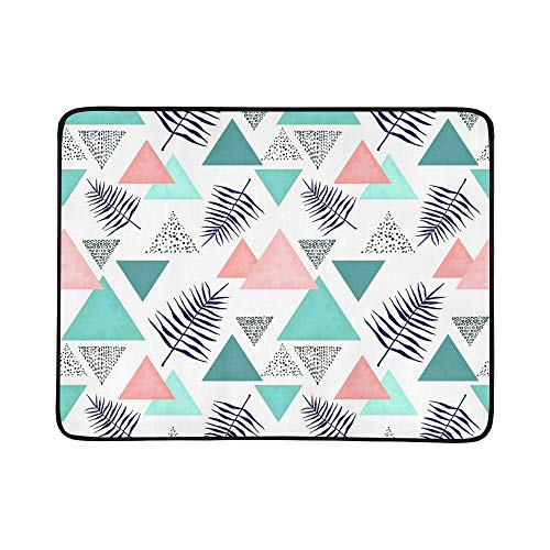 6afd0dcc818 EIJODNL Indigo Ferns Triangles Pastel Portable And Foldable Blanket Mat  60x78 Inch Handy Mat For Camping Picnic Beach Indoor Outdoor Travel