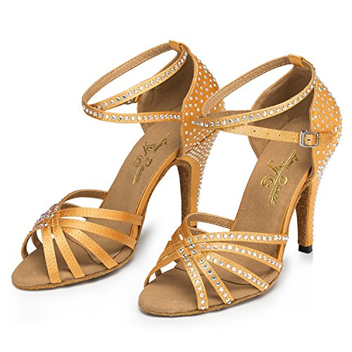 Minitoo – th154 cristalli Croce Strap Satin Matrimonio Ballo Latina taogo Dance Sandals Brown
