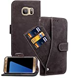 Samsung Galaxy S7 Edge Wallet case, None Samsung Galaxy S7 Edge Flip case, Classy Slim Leather Wallet, ID Credit Card Slot Holder for Samsung Galaxy S7 Edge - Black