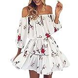 koly-clothes Kleid Damen Kolylong® Frauen elegant aus Schulter Blumen gedruckt Kleid Minikleid Sommer lose rückenfrei Strandkleid Party Kleid Kurzes Kleid Abendkleid (S, Weiß)