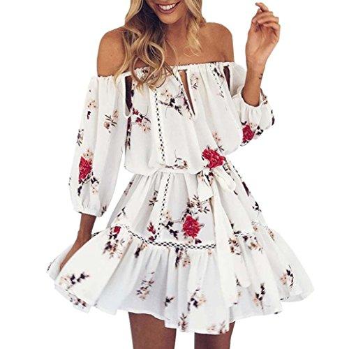 kleid damen Kolylong® Frauen elegant aus Schulter Blumen gedruckt Kleid Minikleid Sommer lose rückenfrei Strandkleid Party Kleid kurzes Kleid Abendkleid (L, Weiß) (Rock Kurzen Gedruckt,)
