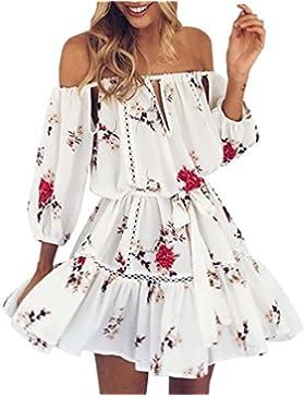 kleid damen Kolylong® Frauen elegant aus Schulter Blumen gedruckt Kleid Minikleid Sommer lose rückenfrei Strandkleid...