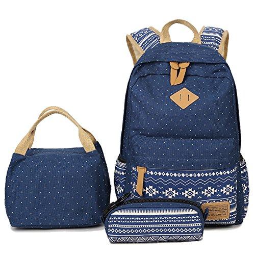 """Artone Ethnisch Punkt Grösse Kapazität lässigen Daypacks Passen 15"""" Laptop Schulrucksäcke mit Lunchbeutel und Mäppchen Set Tunkelblau"""