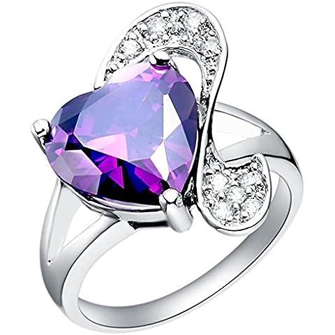 AnaZoz (Grabado Gratis) Joyería de Moda Simple Personalidad 1PCS Anillo de Mujer 18K Chapado en Platino Bandas Forma Corazón Cristal Anillos Color Púrpura