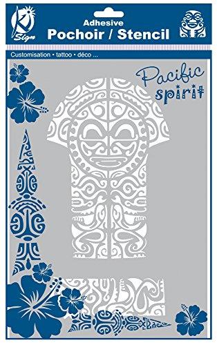 Stoff Tiki (Schablone selbstklebend, für Stoff, Tiki maori-A4-Ki-Sign)