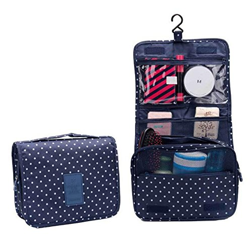 Hibote Sac de toilette suspendu pour voyage - Sac de lavage suspendu portable avec un crochet fort et un grand compartiment transparent détachable pour maquillage ou liquides Dark Blue