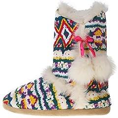 d0f88cbf613a77 Dunlop knitted nordic slipper boots. Womens Annabelle Gretel Farrah  Fairisle DUNLOP Fluffy Warm ...