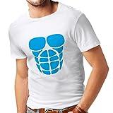 Männer T-Shirt Für Ihr Muskelwachstum - lustige Trainingshemden (XXXXX-Large Weiß Blau)