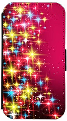 Kuna Flip Cover für Apple iPhone 4 / 4s Design K724 Feuerwerk bunt Hülle aus Kunst-Leder Handy Tasche Etui mit Kreditkartenfächern Schutzhülle Case Wallet Buchflip Rückseite Schwarz Vorderseite Bedruc K720