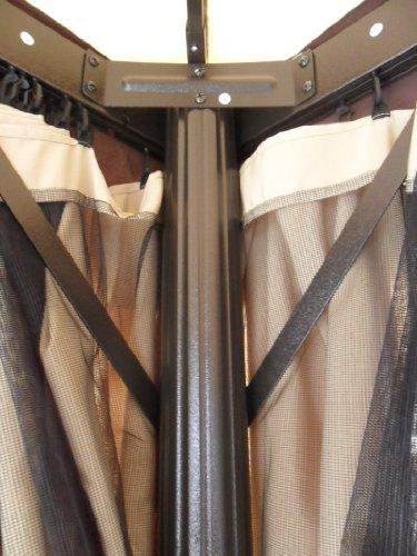 MICHELE SOGARI  Gazebo 3X4 Giardino in Alluminio Copertura 250 GR. Antipioggia ZANZARIERE E Teli Laterali – Colore Beige Chiaro