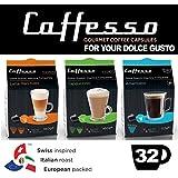 Caffesso Americano Cappucinno Latte Dolce Gusto Máquina Compatible 32x Porciones