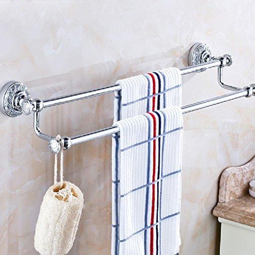 ZHGI Ottone massiccio double portasciugamani asciugamano di barre di rame puro metallo-bagno asciugamani bagno bagno accessori