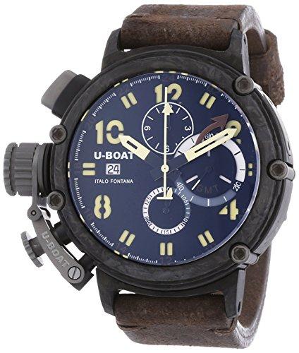 U-Boat  7177 - Reloj de automático para hombre, con correa de cuero, color marrón
