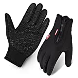 Fahrrad-Handschuhe, wasserabweisend Touchscreen im Winter Outdoor Fahrradhandschuhe einstellbare Größe schwarz
