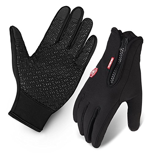 Cycling Gloves, Waterproof Touchscreen in Winter Outdoor Bike Gloves Adjustable Size- Black (Large)