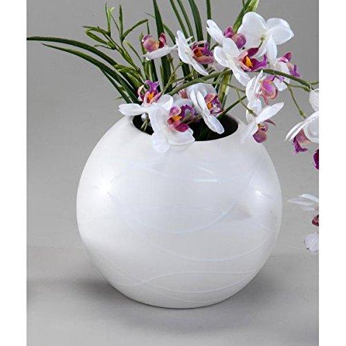 Deko Kugelvase SAMUNGA H 15cm D. 17cm creme weiß Keramik rund Formano