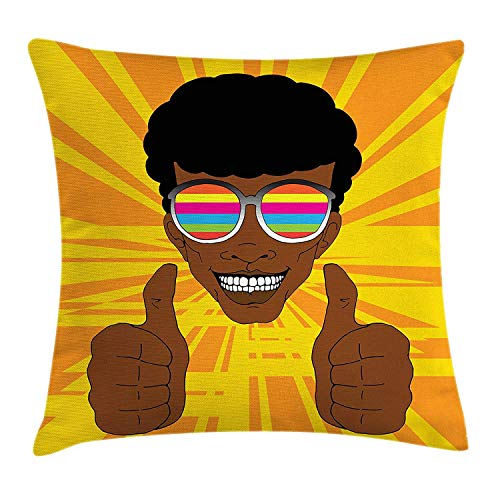 Cupsbags Afro Throw Pillow Cushion Cover, Happy Hippie Man with Colorful Sunglasses Lifting His Thumbs Retro Positive Vibes, Decorative Square Accent Pillow Case, Multicolor16