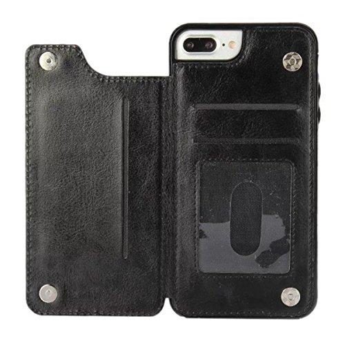 MOONCASE iPhone 7 Plus Coque, Portefeuille Étui en Cuir Housse de Protection avec Porte Carte et Magnétique Fermeture Case pour iPhone 7 Plus (Blanc) Rose