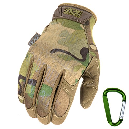 Mechanix WEAR ORIGINAL Einsatz-Handschuhe, atmungsaktiv & abriebfest + Gear-Karabiner, Original Glove in Schwarz, Coyote, Multicam/Größe S, M, L, XL (M, Multicam)