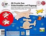 mara by Marabu 046000012 - 3D Holzpuzzle Hubschrauber und Flugzeug, FSC 100 Prozent, 11-Teile