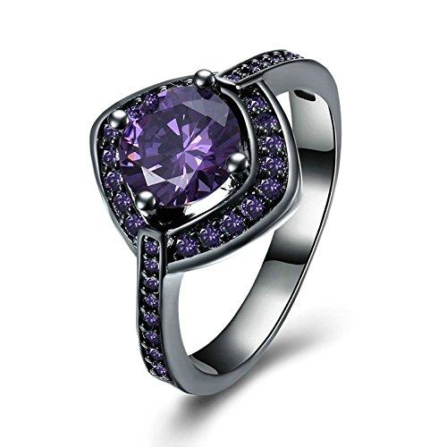 Vergoldet Ring Damen Quadrat mit Zirkonia Lila Trauring Freundschaft Ring Größe 60 (19.1) ()